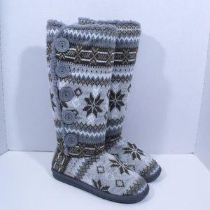 Muk Luks Sweater Boots A La Mode Nordic Buttons